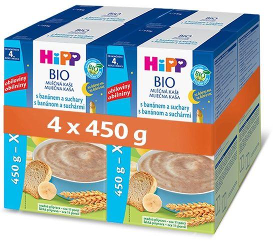 HiPP BIO Mliečna kaša na dobrú noc s banánom a suchármi 4 × 450 g
