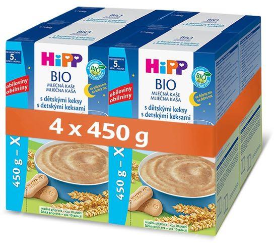 HiPP BIO Mléčná kaše na dobrou noc s dětskými keksy 4 × 450g
