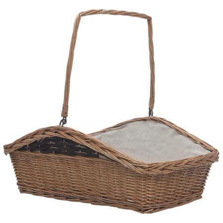 Koszyk na drewno z uchwytem, 61,5x46,5x58 cm, brązowy, wiklina