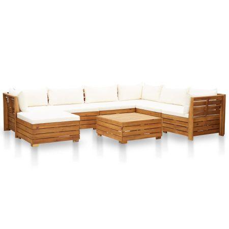 shumee 8-cz. zestaw mebli ogrodowych z poduszkami, akacjowy, kremowy