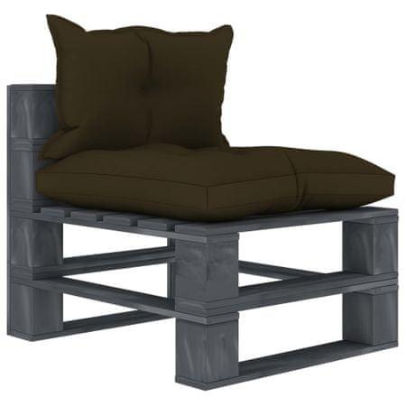slomart Vrtni sredinski kavč iz palet s taupe blazinami lesen