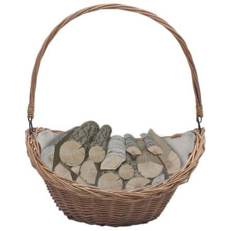 Koszyk na drewno z uchwytem, 57x46,5x52 cm, brązowy, wiklina
