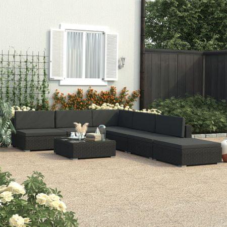 slomart Vrtna sedežna garnitura črna z blazinami 6-delna poli ratan