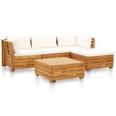 shumee 5-dielna záhradná sedacia súprava s vankúšmi krémovo-biela akáciové drevo