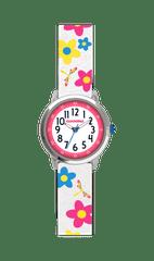 CLOCKODILE Květované bílé dívčí hodinky CLOCKODILE FLOWERS se třpytkami