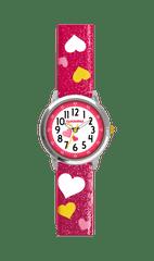 CLOCKODILE Růžové třpytivé dívčí hodinky se srdíčky CLOCKODILE HEARTS