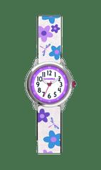 CLOCKODILE Květované bílo-fialové dívčí hodinky CLOCKODILE FLOWERS se třpytkami