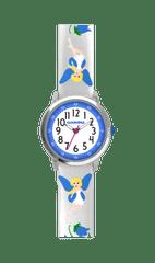 CLOCKODILE Stříbrné třpytivé dívčí hodinky s modrými vílami CLOCKODILE FAIRIES