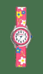 CLOCKODILE Květované růžové dívčí hodinky CLOCKODILE FLOWERS se třpytkami
