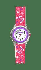 CLOCKODILE Motýlí růžové dívčí hodinky CLOCKODILE BUTTERFLIES se třpytkami