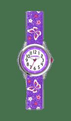 CLOCKODILE Motýlí fialové dívčí hodinky CLOCKODILE BUTTERFLIES se třpytkami
