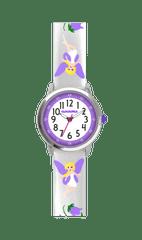 CLOCKODILE Stříbrné třpytivé dívčí hodinky s fialovými vílami CLOCKODILE FAIRIES