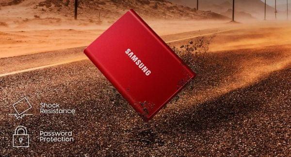 Externí pevný disk Samsung T7 SSD 1TB, heslo, nárazuvzdorný