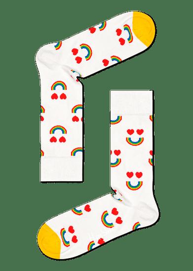 Happy Socks unisex ponožky Happy Rainbow Sock HAR01-1300 41 - 46 bílá