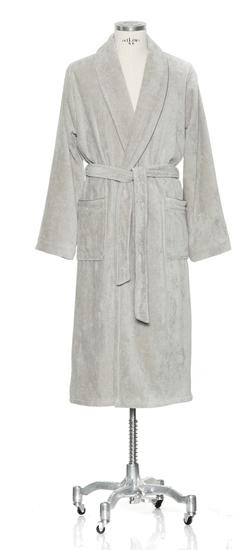 Möve Šedý velúrový bavlnený župan s šálovým golierom a lemom, Move, XL