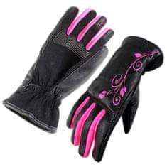 Cappa Racing Rukavice moto LADY koža / textil dlhé čierna / ružová