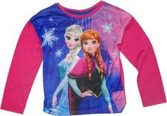 Disney Dívčí tričko Frozen s dlouhým rukávem s Elsou a Annou červené.