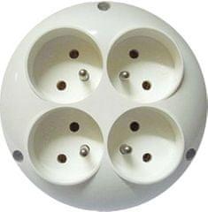 E2 elektro Adaptér R41 kulatý 4-násobný ČSN bílá