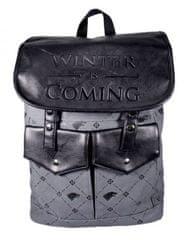 CurePink Batoh Game Of Thrones|Hra o trůny: Stark (objem 14 litrů, 28 x 35 x 14 cm) šedá polyester