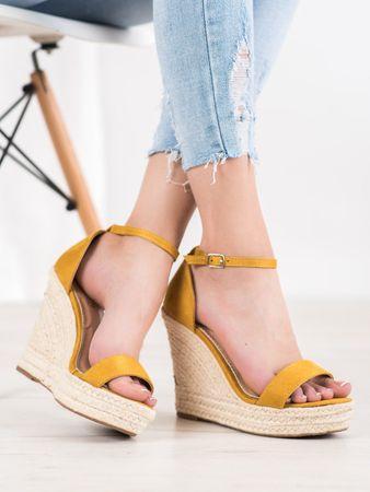 Sandały damskie 64903, odcienie żółtego i złota, 37