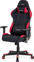 ART Herní křeslo e-racer, houpací mechanismus, kombinace černé a červené látky, opěrák 90°-180°, plastový kříž KA-F02 RED Art
