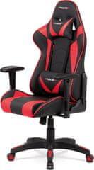 ART Kancelářská židle houpací mech., černá + červená koženka, plast. kříž KA-F03 RED Art