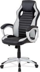 ART Kancelářská židle, šedá-černá ekokůže, houpací mech, kříž plast stříbrný KA-V507 GREY Art