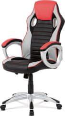 ART Kancelářská židle, červená-černá ekokůže, houpací mech, kříž plast stříbrný KA-V507 RED Art