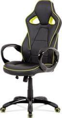 ART Kancelářská židle, černá-zelená ekokůže, houpací mech, plastový kříž KA-E812 GRN Art