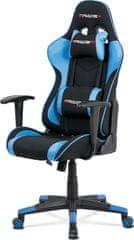 ART Kancelářská židle, modrá ekokůže + černá látka, houpací mech., plastový kříž KA-V608 BLUE Art