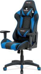 ART Kancelářská židle, modrá+černá ekokůže, houpací mech., plastový kříž KA-F03 BLUE Art