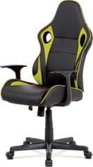 ART Kancelářská židle - černá ekokůže, zelená látka MESH, houpací mech., plastový kříž KA-E807 GRN Art