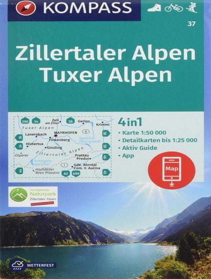 World Maps KOMPASS 37 Zillertaler Alpen, Tuxer Alpen 1:50t turistická mapa