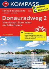 World Maps KOMPASS 7004 Donauradweg 2 Von Passau über Wien nach Bratislava 1:50t cyklomapa