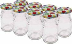 Browin Zavařovací sklenice 180 ml s barevným víčkem 53 mm, 8 ks