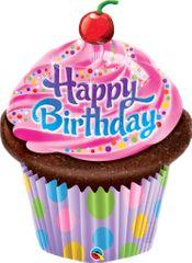 Fóliový balónik Happy Birthday - muffin - 89 cm