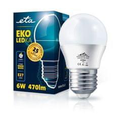 ETA LED žarnica, G45, E27, 6 W, toplo bela