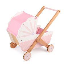 Tidlo Fa babakocsi fogantyú rózsaszín babákhoz, Fa babakocsi fogantyú rózsaszín babákhoz