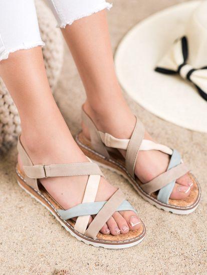 Výborné dámské sandály hnědé bez podpatku, odstíny hnědé a béžové, 37