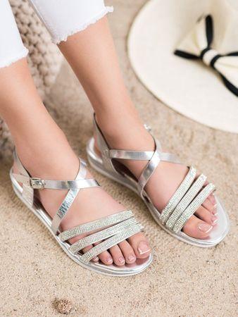 Női szandál 65015 + Nőin zokni Gatta Calzino Strech, szürke és ezüst árnyalat, 37