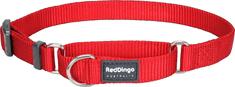 RED DINGO Nastaviteľný polosťahovací nylonový obojok Red dingo červený