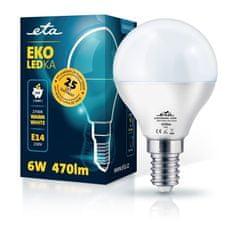 ETA LED žarnica, P45, E14, 6 W, toplo bela