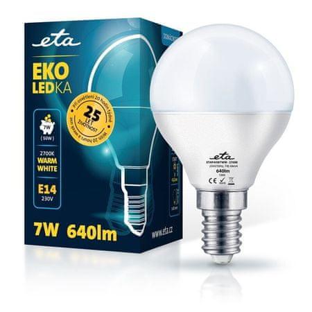 ETA LED žarnica, P45, E14, 7 W, toplo bela