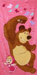 SETINO Plážová Bavlněná osuška - Máša a medvěd - růžová - 70x140