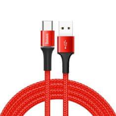 BASEUS Halo kabel s LED diódou USB / USB-C 2A 2m, červený