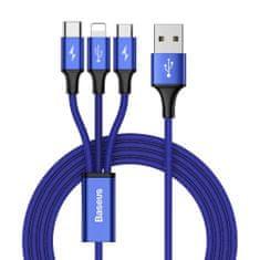 BASEUS Rapid USB - micro USB / Lightning / USB-C kábel 3A 1,2m, kék