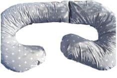 KHC Těhotenský kojící relaxační polštář Zuzanka 260 cm Bílé hvězdičky na šedé Pratelný potah