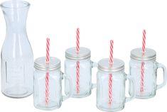 Alpina 5-delni set, 4 x kozarec 420 ml, s slamico + 1 x vrč 1L, steklen