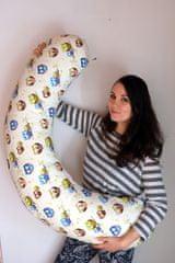 KHC Kojící těhotenský relaxační polštář Miki Obrovský 240 cm Sovičky na bilo-žluté Pratelný potah Duté vlákno