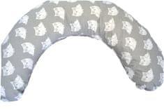 KHC Kojící těhotenský relaxační polštář Miki Obrovský 240 cm Sovičky na šedé Pratelný potah Duté vlákno